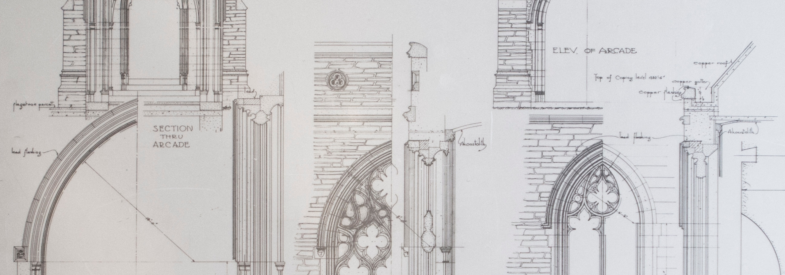 Technical drawings of Gothic buildings