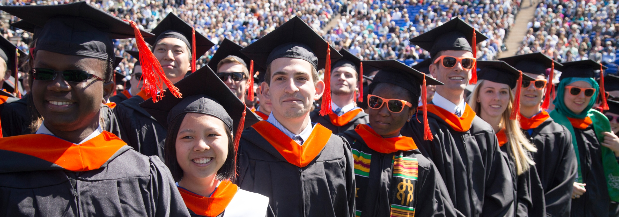 Duke Engineering graduates in caps and gowns